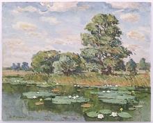 "Vladimir Aleksandrovich ZHUGAN - Pintura - ""Riverscape"", Oil Painting, 1970"