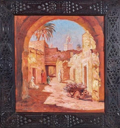 José ORTEGA - Pintura - Alley of the casbah with Minaret - El Kantara region Algeria
