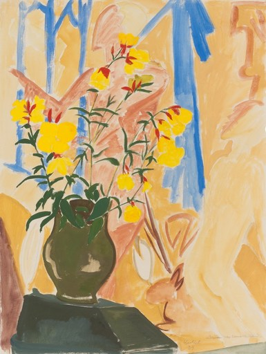 Erich HECKEL - Drawing-Watercolor - Blüten vor bemalter Wand