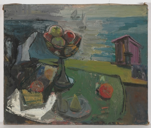 """Frederick SERGER - Painting - """"Still life with Apples"""", 1940's"""
