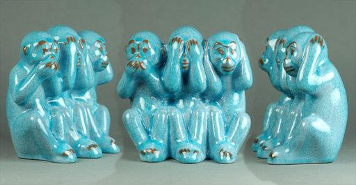 Max HEINZE - Céramique - Drei Affen