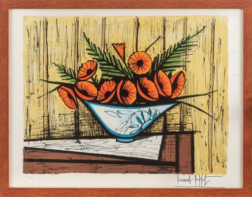 Bernard BUFFET - Grabado - Soucis au vase bleu et blanc