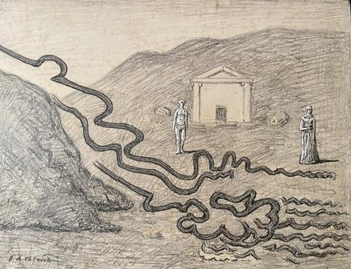 Giorgio DE CHIRICO - Zeichnung Aquarell - Il fiume misterioso