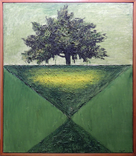 Carlo MATTIOLI - Painting - Paesaggio con albero verde