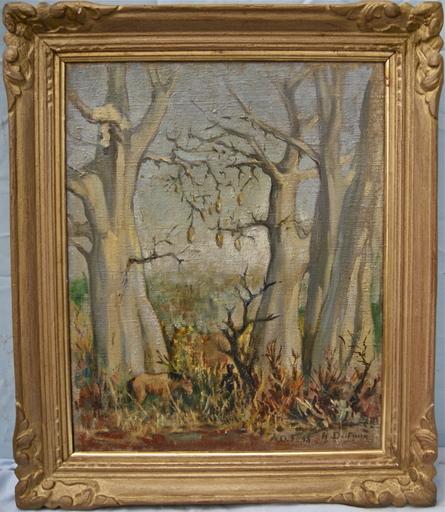 Henri DUFAUX - Painting - Une halte dans la brousse Africaine. Niger A.O.F