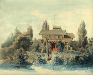 Heinrich DEUCHERT - Drawing-Watercolor - Das Casino auf der Roseninsel im Starnberger See