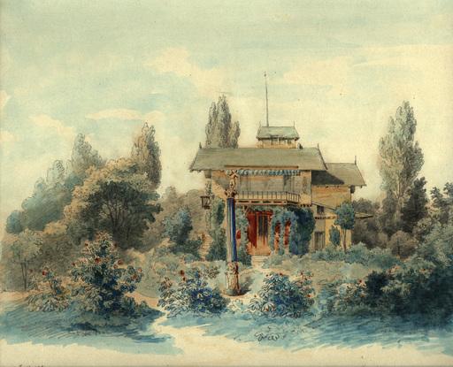 Heinrich DEUCHERT - Dessin-Aquarelle - Das Casino auf der Roseninsel im Starnberger See