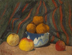 Paul SÉRUSIER - Painting - Nature morte aux pommes sur fond de tenture rayée