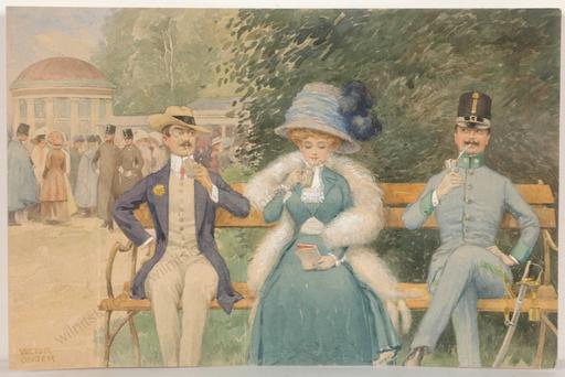 """Viktor UNGER - Zeichnung Aquarell - """"Scene in Viennese Park"""", watercolor, 1890s"""