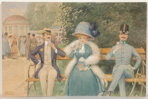 "Viktor UNGER - 水彩作品 - ""Scene in Viennese Park"", watercolor, 1890s"