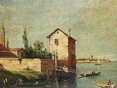 Alessandro MILESI - Painting - Lagune von Venedig mit Gondeln