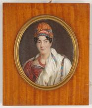 "Louis François AUBRY - Miniature - ""Portrait of a lady in turban"", important miniature on ivory"
