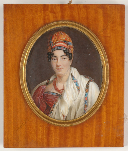 "Louis François AUBRY - Miniature - ""Portrait of a lady in turban"", important miniature on ivory"