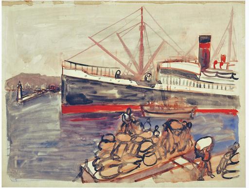 Abraham MINTCHINE - Dessin-Aquarelle - Le port, 1929