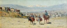Richard Karlovich ZOMMER - Painting - Orientalist, kaukasische Reiter,Caucasian rider, Russia
