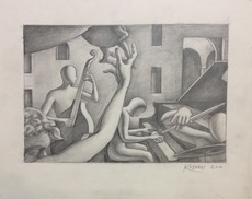Mark KOSTABI - Drawing-Watercolor - Let's slow it down a bit