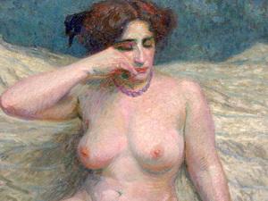 "Roger GRILLON - Peinture - ""Le fard"" Nu - Femme"