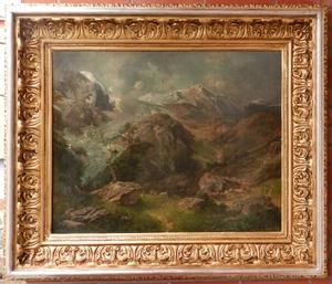 Alfred Karl Julius VON SCHÖNBERGER - 绘画 - Mountains Landscape