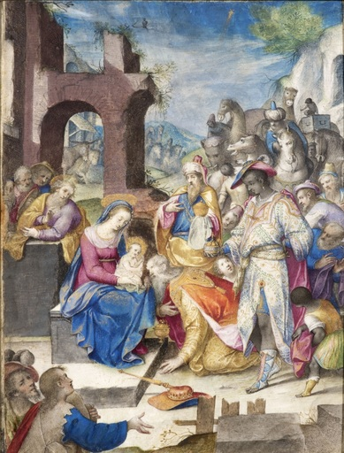 Francesco DA CASTELLO - Disegno Acquarello - L'Adoration des mages