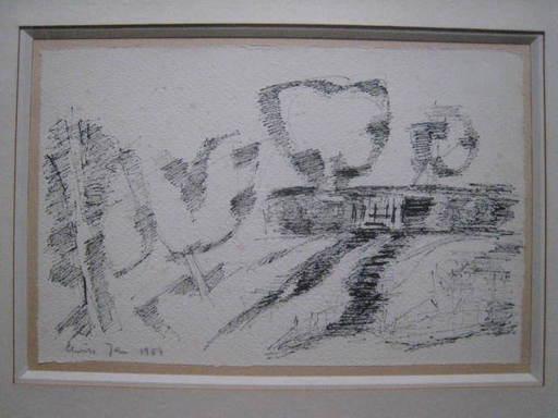 Elvire JAN - Dibujo Acuarela - PAYSAGE 1954