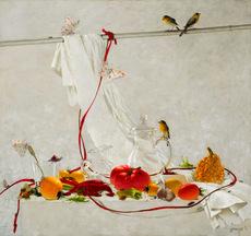 Tatjana PALCUKA - Painting - Still Life with Grass Hopper    (Cat N° 5493)