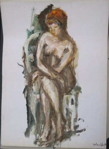"""Marius WOULFART - Dibujo Acuarela - """"NU A LA CHAISE"""""""