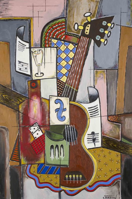 Georges TERZIAN - Peinture - La guitare au domino