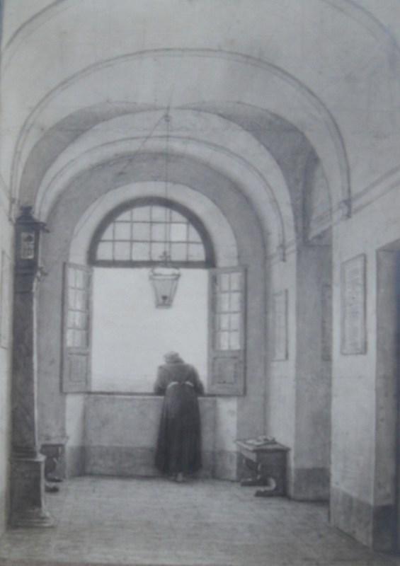 Jacques Alfred VAN MUYDEN - Dibujo Acuarela - Moine accoudé à Albano