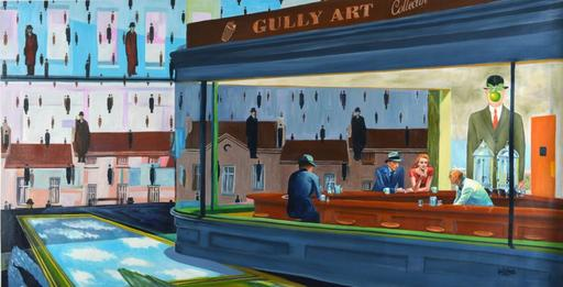 GULLY - Painting - Magritte meets Hopper
