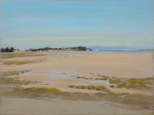 Jacques COQUILLAY - Zeichnung Aquarell - Bord de mer à marée basse en Bretagne