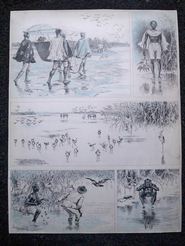Adrien Emmanuel MARIE - Dibujo Acuarela - La Chasse