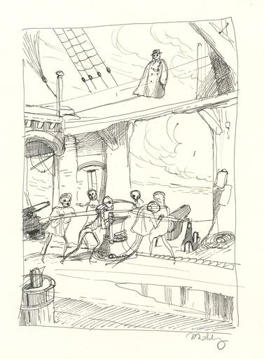 Philippe MOHLITZ - Dibujo Acuarela - DESSIN À L'ENCRE SUR PAPIER DE 1973 SIGNÉ AU CRAYON