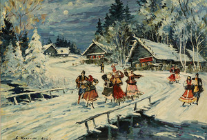 "Konstantin A. KOROVIN, ""Winter Evening in a Russian Village"