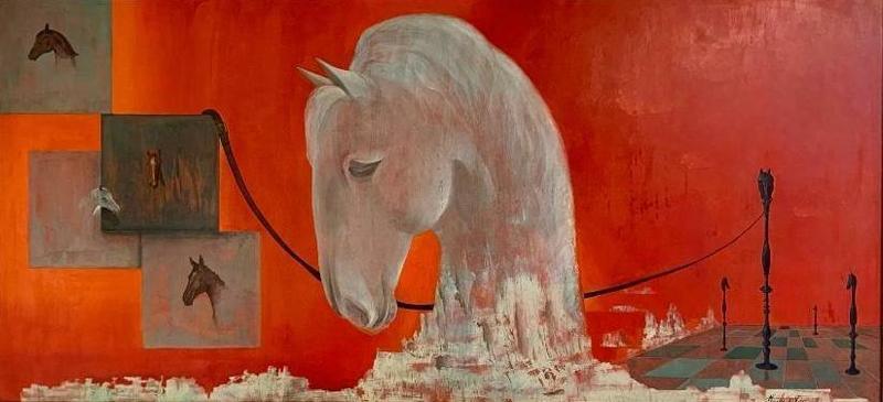 Maurice DE VRIES - Pintura - Schaakstukken