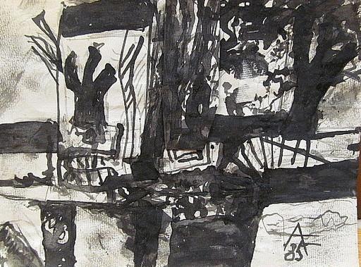 Arnold FIEDLER - Disegno Acquarello - Abstrakte schwarze Komposition