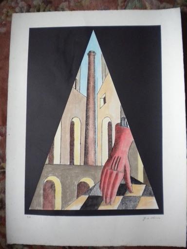 Giorgio DE CHIRICO - Stampa Multiplo - Mano con guanto rosso e ciminiera