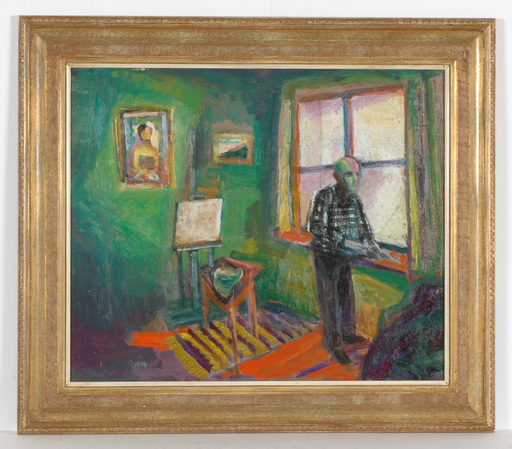 """Frederick SERGER - Painting - """"Self-portrait in studio"""" oil on canvas, 1940s"""