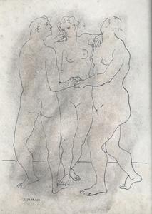 "Gerardo LIZARRAGA - Drawing-Watercolor -  ""Les Trois Grâces"""