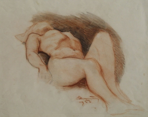 "Leopold BLAUENSTEINER - Drawing-Watercolor - ""Reclining Female Nude"" by Leopold Blauensteiner"