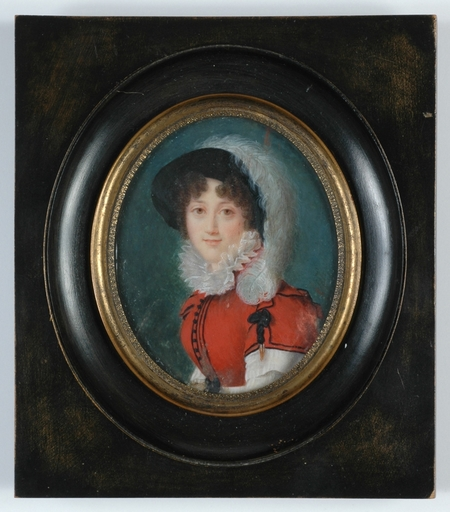 """Marguerite GÉRARD - Disegno Acquarello - """"Lady with a Feather Hat"""" important miniature, early 1820s"""