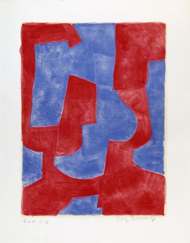 Serge POLIAKOFF - Estampe-Multiple - Composition bleue et rouge n°57