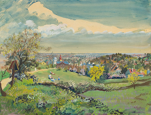 Oskar LASKE - Zeichnung Aquarell - Blick auf Wien, 1934