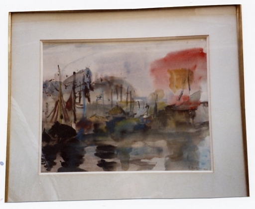 Suzanne DUCHEMIN - Drawing-Watercolor - voiliers au port