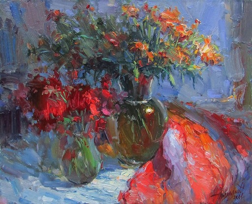 Yuriy DEMIYANOV - Pittura - beautiful still life