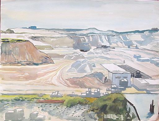 Paul MECHLEN - Drawing-Watercolor - Sandabbau in den Dünen von Sylt.