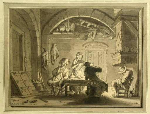 Bartholomäus BARBIERS - Drawing-Watercolor - Interior with Four Persons sitting at a Table