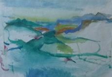 Herbert BOECKL - Drawing-Watercolor - Landschaft südlich des Wörthersees