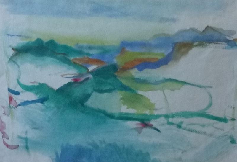 Herbert BOECKL - Dibujo Acuarela - Landschaft südlich des Wörthersees