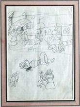 Jean POUGNY - Drawing-Watercolor - Scène de plage à Cannes   circa 1953-54
