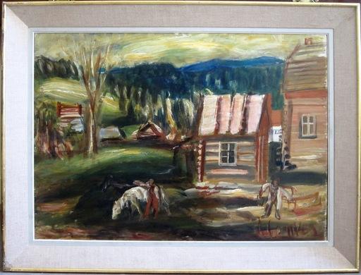 Zygmunt MENKES - Painting - Datcha au cheval blanc
